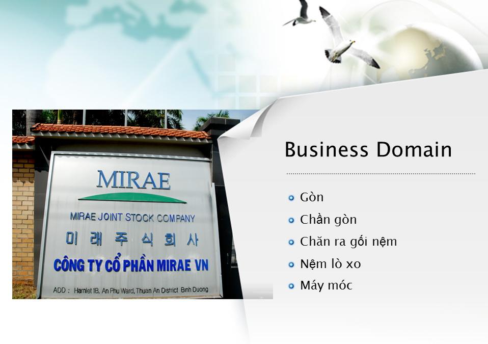 Mirae là doanh nghiệp chuyên sản xuất các sản phẩm dệt may
